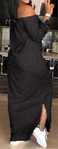 X Haokan Largo y de sin Small Vestido Verano Mangas Negro con Hombros tamaño Descubiertos Color Descubiertos Hombros ZZxSqrpnA