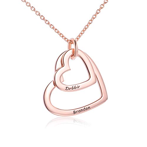 - LONAGO Personalized 2 Names Necklace Custom Double Hearts Sterling Silver Copper Engraved 18K White Rose Gold Plated Pendant, Wedding Bridemaid Women Jewelry Gift (Rose Gold-Plated-Copper)