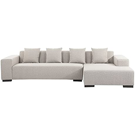 Modern Sectional Sofa Beige Fabric Left Hand Chaise Lungo