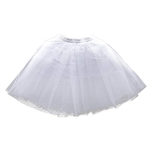 LULUSILK Girl's Hoopless Petticoat Crinoline with 3 Layers, Wedding Flower Girl Slip Underskirt for Kids, White