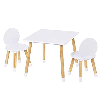UTEX 2-in-1 Kids Table with 2 Chairs Set, White: Kitchen & Dining