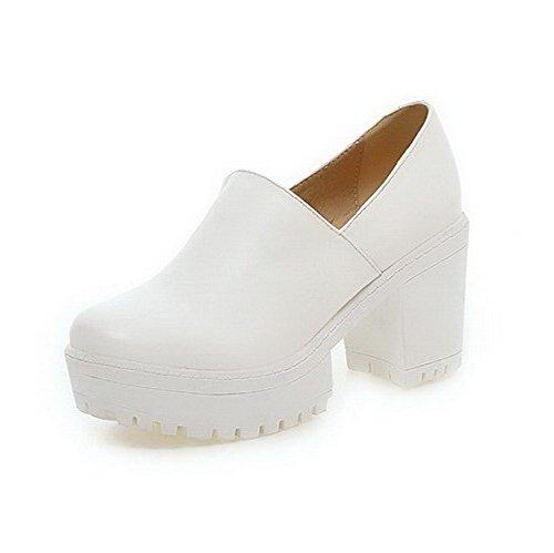 AllhqFashion Damen Rein Hoher Absatz Rund Zehe Weiches Material Ziehen auf Stiefel, Weiß, 40