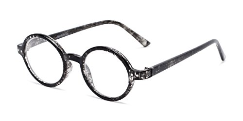 Readers.com Reading Glasses: The Bookworm Reader, Plastic Round Style for Men and Women - Marbled Black, 1.50 (Sonnenbrille Reader)