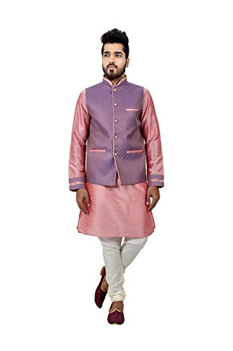 Dessa Collections Indian Traditional Designer Partywear Ethnic Cameo Pink Mens Kurta Pajama by Dessa Collections