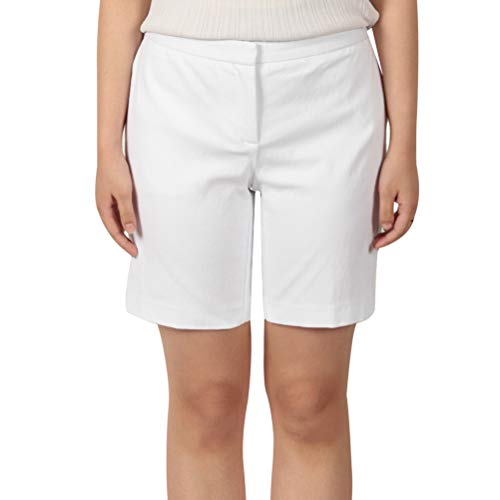 KELLY KLARK Chino Shorts,Women's Casual Comfy Cotton Walking Shorts Stretch Fitted Bermuda Short with Pockets White US 2