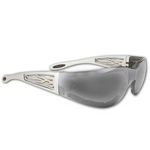 Global Vision Mirrored Motorcycle Sunglasses with Silver Lenses/Silver Frame/Me - One - Sunglasses Me