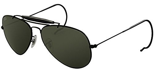 Ray-Ban Outdoorsman RB 3030 Sunglasses Black / Crystal Green (L9500) 58mm & HDO Cleaning Carekit - Ban Used Ray