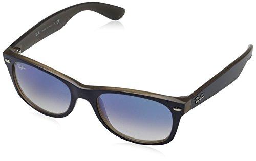 Ray-Ban Men's New Wayfarer Square Sunglasses, Matte Blue on Opal Brown, 55 - Ray Ban Matte Wayfarer Brown
