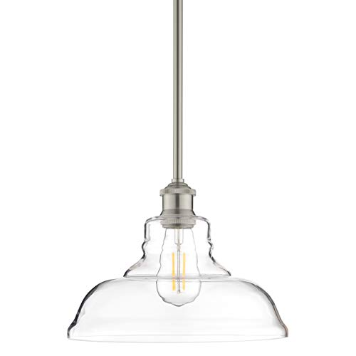 Lucera Glass Kitchen Pendant Light | Brushed Nickel Farmhouse Hanging Light Fixture LL-P431-BN