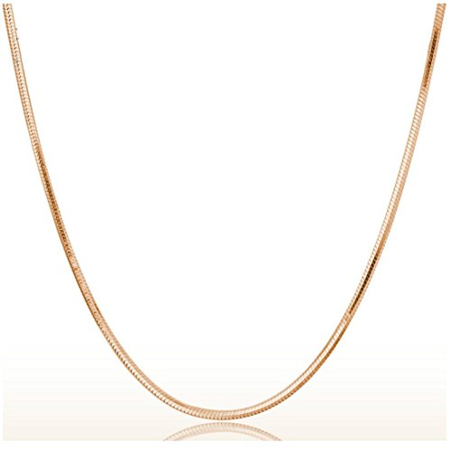 DondPO 1PC 2mm Fashion Rose Gold Round Snake Chain Necklace Silver Tone 45cm (Rose Gold)