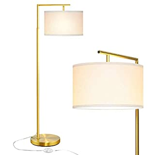 Modern Floor Lamp for Living Room, LED Standing Lamp for Bedroom, Classic 5' Tall Stand Up Light with Hanging Lamp Shade, Reading Corner Lamp for Office Study Room with LED Bulb - Antique Brass Gold