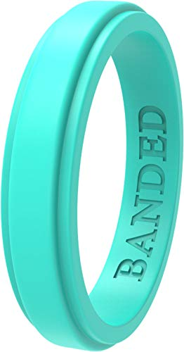BANDED GLORY Silicone Wedding Ring for Men, Rubber Wedding Bands, Step Edge Design, Thin Aqua 6 ()