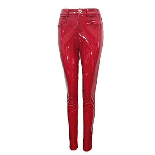 Suenkds Women Trousers Sexy PU Leather Pants Solid Casual Pants