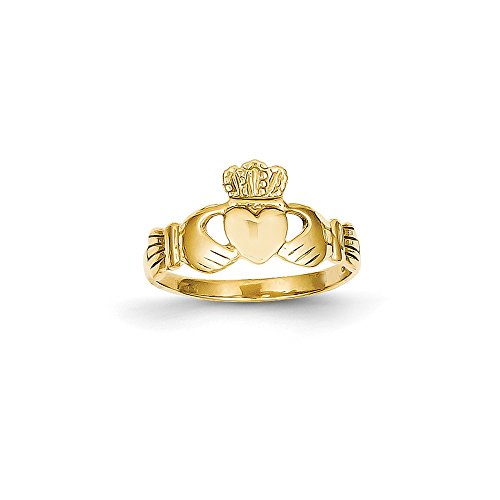 Size 6.5 - Solid 14k Yellow Gold Polished Ladie's Claddagh Ring (6mm)