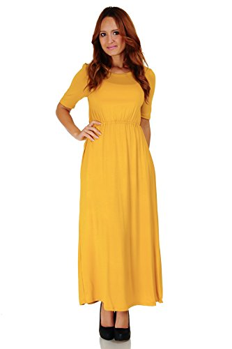 Half Sleeve Floor - Simply Ravishing Women's Half Sleeve Floor Length Maxi Blouson Dress (Size: S-5X), 2X, Mustard