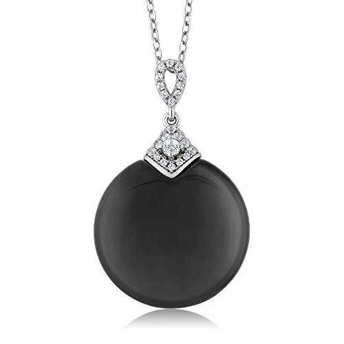 Gem Stone King Black Onyx 925 Sterling Silver With Cubic Zirconia CZ Pendant Necklace with 18 Inch Silver - Black Onyx Charm Necklace