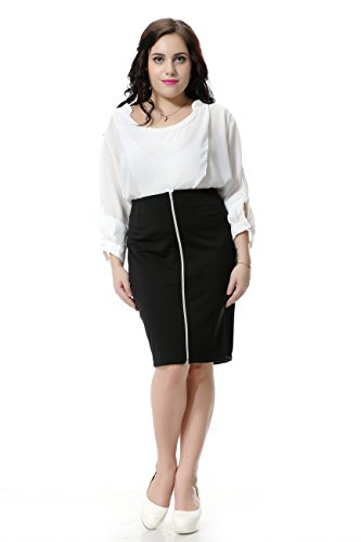 Right You Plus Size SkirtS Women With Zip Black Work Pencil Skirt 1073 (us16, Black)