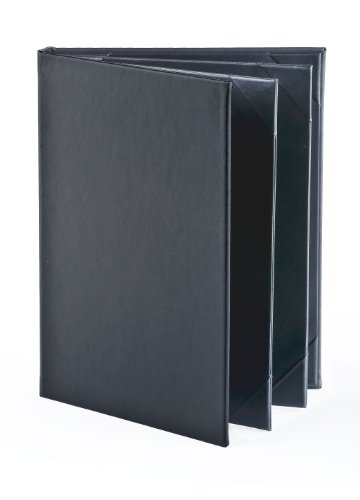 Displays2go Synthetic Leather 4-Page Menu Cover, Black, Set of 25