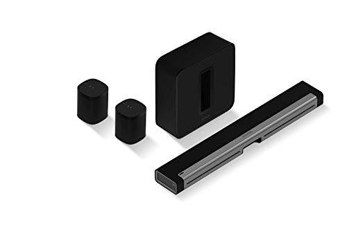 Sonos 5.1 Surround Set - Home Theater System with Playbar, Sub and set of two Sonos One Smart Speakers, Wireless Sound System and Music Streaming for your home. Works with Alexa. (Black)