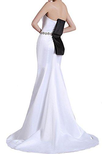 Meerjungfrau Partykleid einfach Guertel Abendkleid Blau Perlen Satin Ivydressing Schleppe Brautfernkleid Traegerlos Ruekenfrei aermellos Damen Strass qt4w5WxU7O