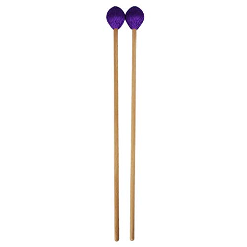 B Blesiya 2pcs Marimba Mallets Xylophone Stick with Purple Yarn Head And Beech Wood Handle for Drummers Musical ()