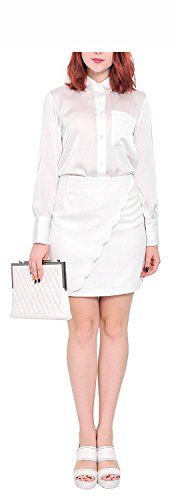 Jacob Oliver New style Womens Office Business Wrap Mini Short Pencil Skirts 10 White comfortable