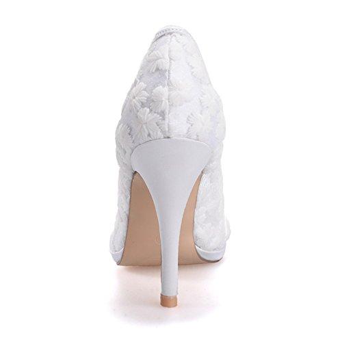 Fanciest Women's Bridal Wedding Party Evening Lace High Heel Pump Shoes 0255-31 White yzLHJUu