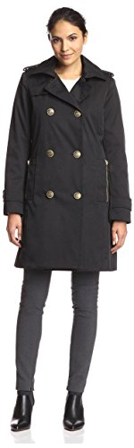Nicole Miller Women's Double-Breasted Trench Coat, Black, XS