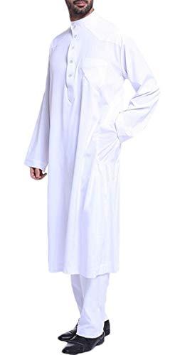 BYWX Men Muslim Long Sleeve 2 PCS Outfits Islamic Arabian Kaftan Pants White US XL]()