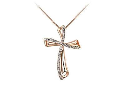 Veuer Schmuck für Damen goldene Hals-Kette Kreuz-Anhänger Rosé-Gold Vergoldet mit Strass-Steinen Geschenk zu Weihnachten für