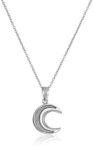 Half Moon Pendant - Sterling Silver Glitter Half Moon Pendant Necklace, 18