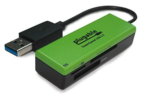 Plugable SuperSpeed USB 3.0 Flash Memory Card Reader for Windows, Mac, Linux, and Certain Android Systems - Supports SD, SDHC, SDXC, Micro SD \ T-Flash, MS, MS Pro Duo, MMC, and More ()
