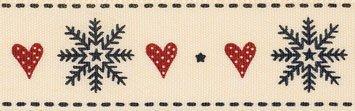 Berisfords Snowflake Stitch: 3m x 25mm: Red/Black
