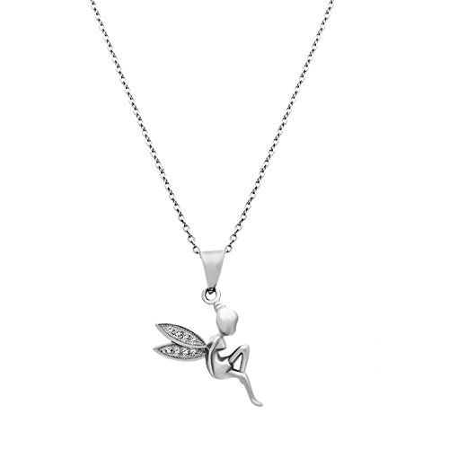 (925 Sterling Silver Fairy Wings Necklace Silver Angel Pendant 2cm Simple Silver Necklace, Elegant Necklace, Tiny Fairy Angel Necklace Chain 16