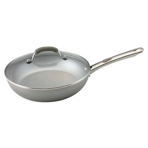 Farberware Specialties Aluminum Nonstick 10.5-Inch Deep Covered Skillet, Champagne