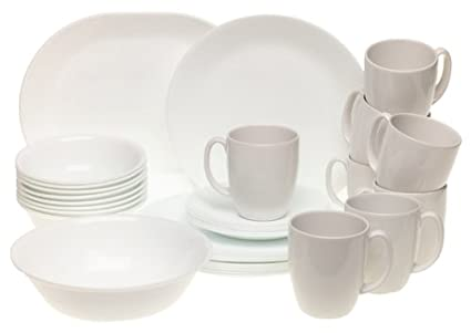 Corelle Livingware Just White 34-Piece Dinnerware Set Service for 8  sc 1 st  Amazon.com & Amazon.com | Corelle Livingware Just White 34-Piece Dinnerware Set ...