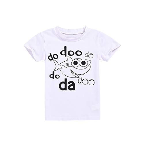 Toddler Boys Cartoon Tee, Kids Baby Solid Color Shark Print Short Sleeve Top, Summer Casual T-Shirt (Age: 3-4 Years, White) -