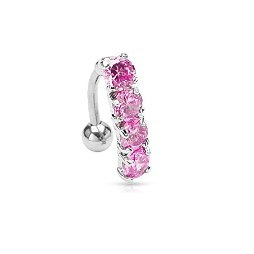 Pierced Owl 4 CZ Crystal Vertical Drop Reverse Belly Button Ring in 316L Stainless Steel - Available in Multiple Crystal Colors! (Pink)