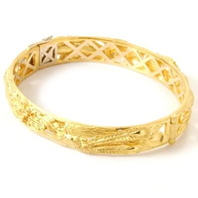 Amazoncom 24K 18K Gold 7 Chinese Wedding Bangle Bracelet Jewelry