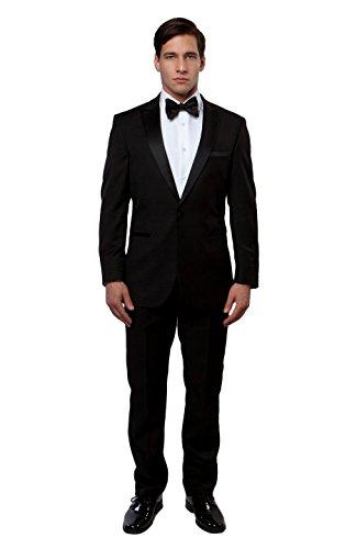 Men's One Button Luxurious Satin Peak Lapel Slim Fit Tuxedo (38R, (Black Peak Tuxedo)