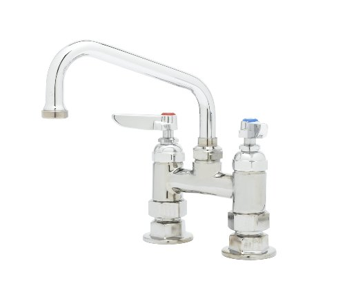 T&S Brass B-0228 Deck Mount Double Pantry Faucet with 4-Inch Centers and 6-Inch Swing Nozzle ()