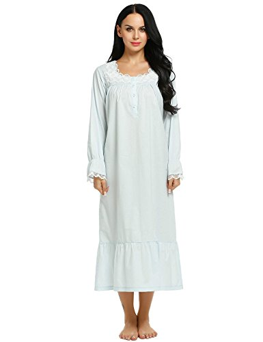 Ekouaer Sleep Tee Shirts Ladies Cotton Night Dress Long Loungewear Nighties (Blue, Large) -