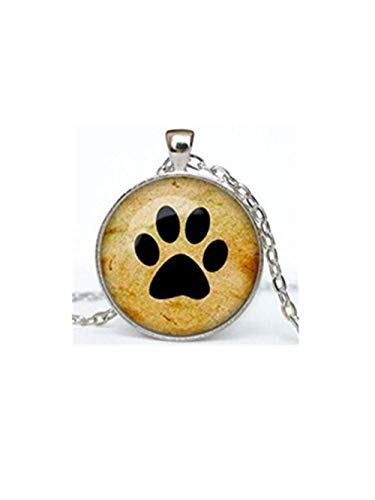 (A little little love Paw Prints Dog Glass Cabochon Tibet Silver Pendant Chain Necklace)