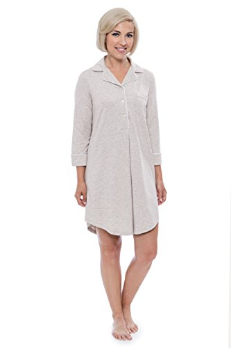 Luxurious Bamboo - Women's Nightshirt in Bamboo Viscose (Zenrest, Heather Platinum, Large) Best WB0475-2G2-L