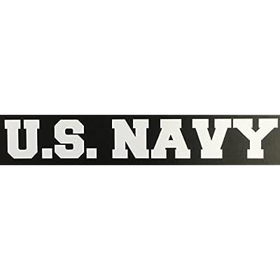 C60161 (White) U.S. Navy Banner USN Decal Car Truck Window Sticker 7.5x1.3in: Automotive