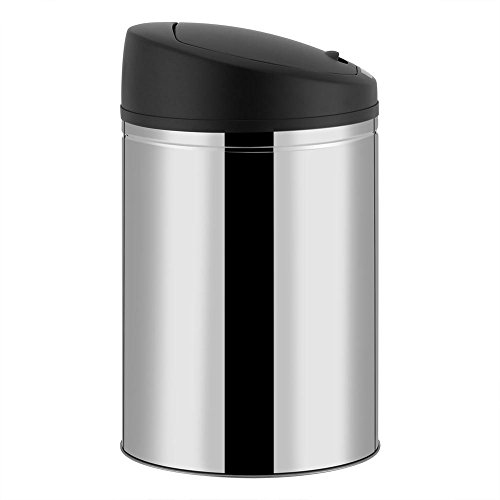 Greensen Stainless Steel Automatic Trash Can,Sensor Dustbin Rubbish Waste Bin Battery Powered Trash Can (40L)