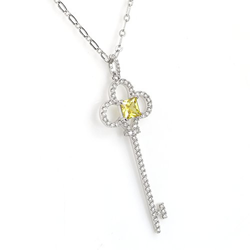 Canary Yellow Colour - United Elegance - Designer Key Pendant Necklace with Striking Princess Cut Faux Canary Yellow Sapphire and Shimmering Swarovski Style Crystals (Key 1)