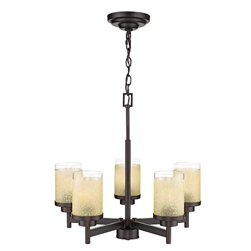 - Jazava Modern 5-Light Chandelier, Rustic Kitchen Hanging Island Light, Pendant Chandelier for Dinning Room, Farmhouse, Oil Rubbed Bronze with Yellow Linen Frosted and Clear Glass Shades