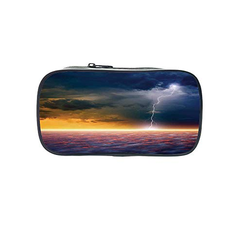 3D Print Design Pen Bag,Lake House Decor,Apocalyptic Sky View End of The World Majestic Mystic Sky Solar and Flames Image,Orange Blue,for Students,Pictures Print Design by iPrint