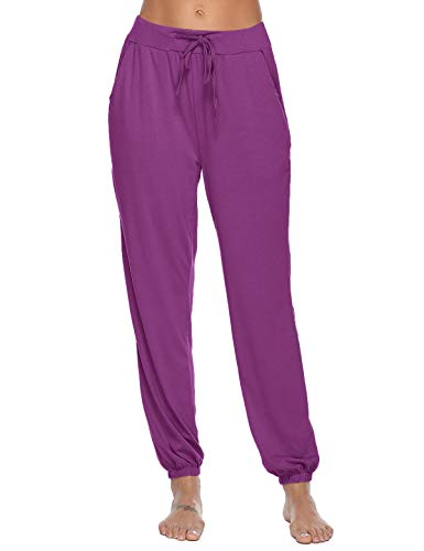 Abollria Women's Cotton Pajama Pants Stretch Lounge Pants with Pockets Jogger Pants (Purple, Small)